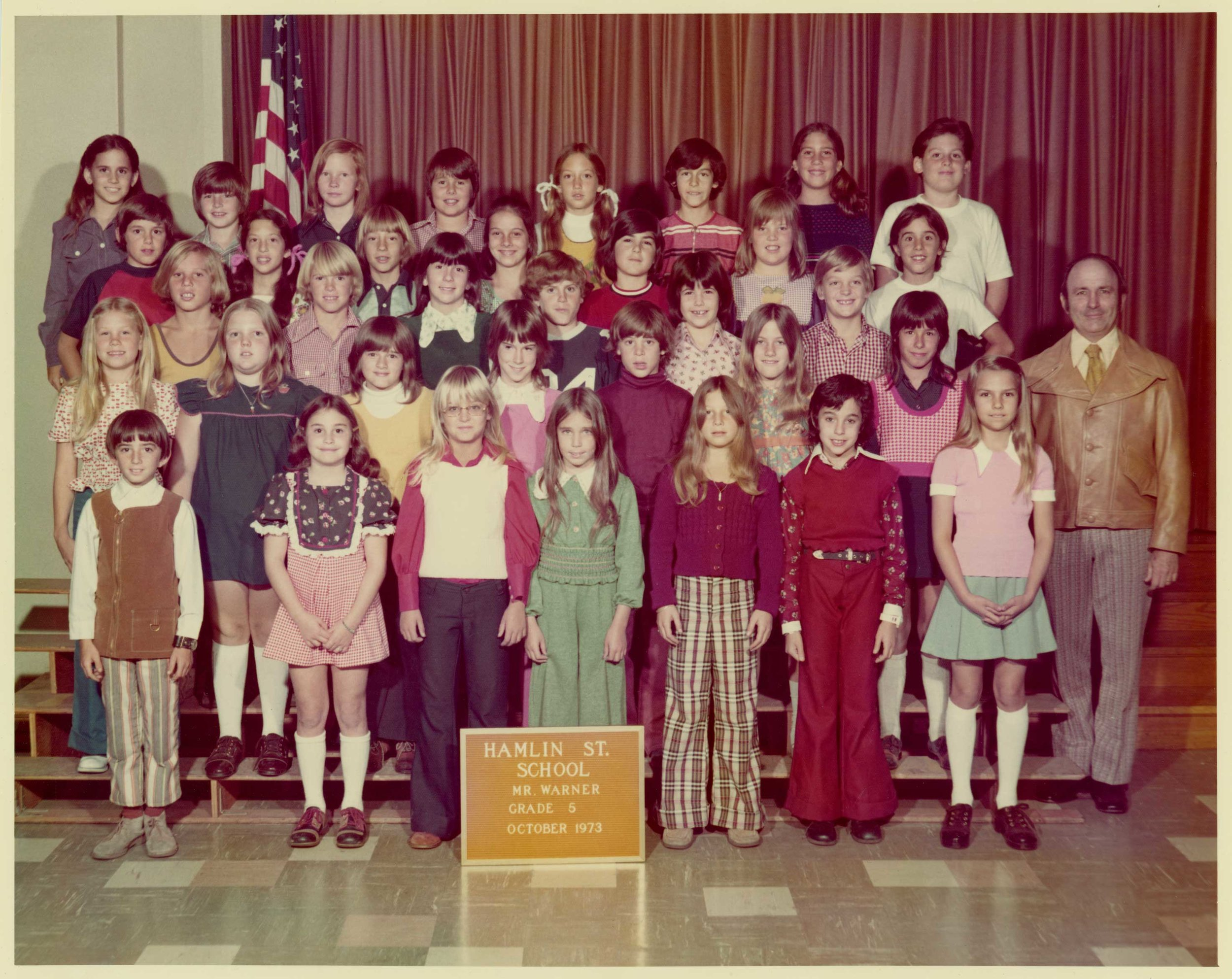 I'm in the second from the top row, left side, light blue button up shirt, wide navy collar, straight bangs , Canoga Park, CA, 1973