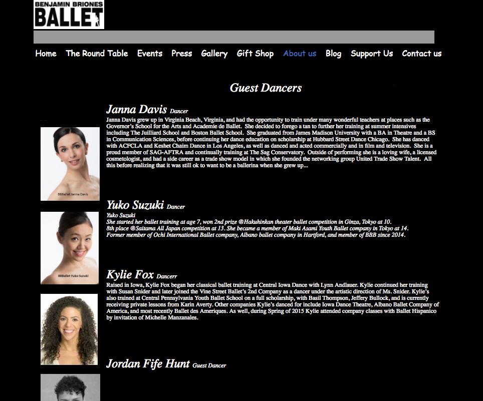 Benjamin Briones Ballet, Guest Dancers - http://www.benjaminbrionesballet.org/about.html