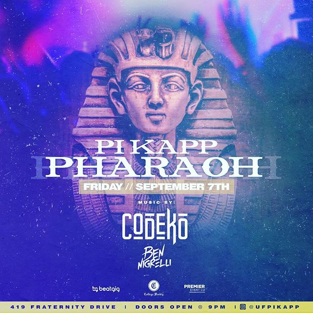 Premier Event Co is happy to announce our collaboration with @ufpikapp, @collegeweekly, and @beat_gig to bring @codekomusic to UF w/ a special appearance from @djbennigrelli.  9/7/18 🤟🏻🔥 🎵 🎉 🍾 #premiereventco #itsgreatuf #party #music #itslit