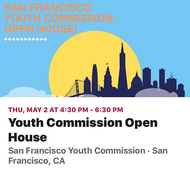 Shout out to our Youth!!! Share this event  Date And Time  Thu, May 2, 2019 4:30 PM – 6:30 PM PDT Location  San Francisco City Hall 1 Doctor Carlton B Goodlett Place Room 345 San Francisco, CA 94102  Event description:  Are you between the ages of 12yr - 23 yr, and want to learn more on how to make an impact in local government?  Come chat and celebrate with the Youth Commission!  There's a Free Art Show & Food will be provided! Artists from the Youth Art Exchange (YAX)  When: Thursday, May 2nd 4:30-6: 30 pm  Where: San Francisco City Hall - Room 345 (1 Dr. Carlton B. Goodlett Pl)  Public Transportation: Near Civic Center Bart & Muni Station, Muni Lines: F, K, J, L, M, N, T, 5, 6, 9, 19, 21, 47, 49,  Access Info: Elevator Access, Single stall gender-neutral restrooms ***When entering City Hall, you must go through security. If you have any large bags (ex: Laptop bags, backpacks, gym bags), security will direct you to enter through the Loading Dock entrance located on Grove Street (between Dr. Carlton B. Goodlett Place and Van Ness Ave) at the west end of the driveway. They will have your bags screened through a metal detector.