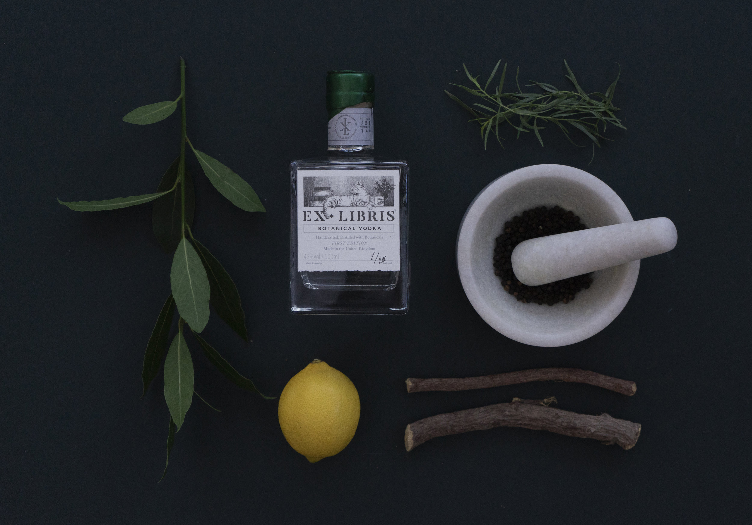 EXLIBRIS with some of it's botanicals - Bay, Lemon, Tarragon, Black Pepper & Liquorice Root.