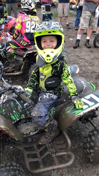 """Blake Conroy having fun during his moto at Royal Mountain on Wednesday 8-18-18. Dad quoted him stating, """"He loved the mud."""" Photo credit to Dad aka Anthony Conroy"""