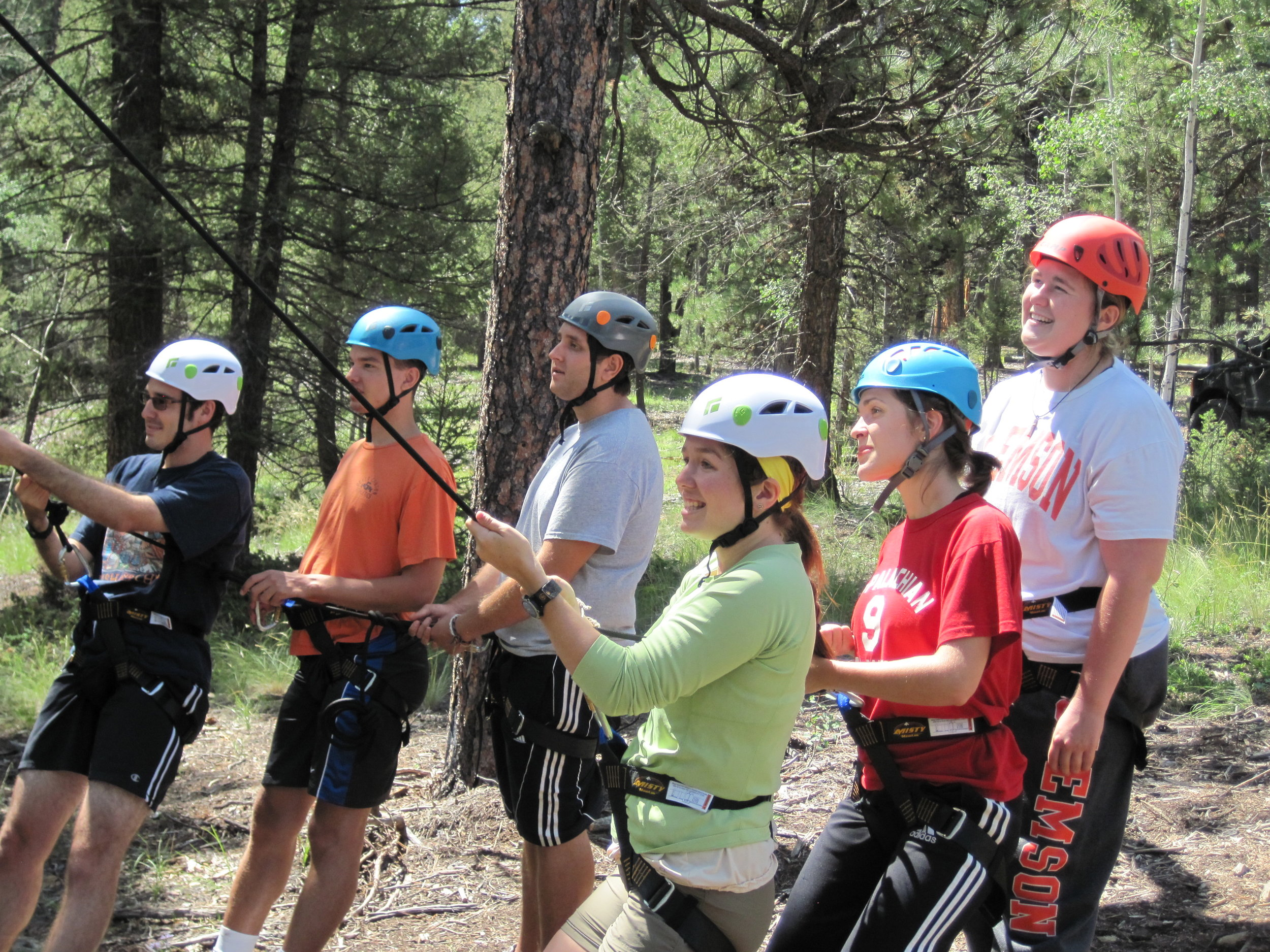 Young Adults work together at the Cathedral Ridge Ropes Course. Photo courtesy Colorado Episcopal Service Corps