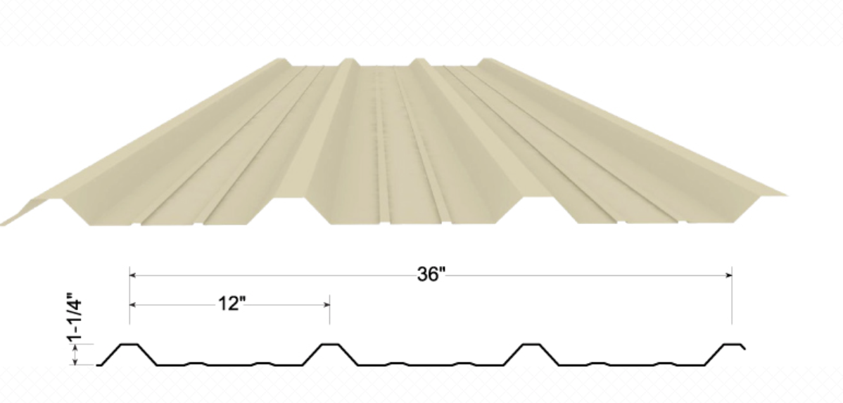 The PBR or Purlin Bearing Rib panel has a 1 1/4 deep rib providing added strength and waterproofing ability. Economical and durable for all your building needs. Most widely used metal panel in the industry.