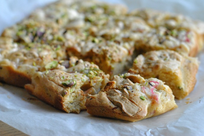 Rhubarb & Pistachio Blondies