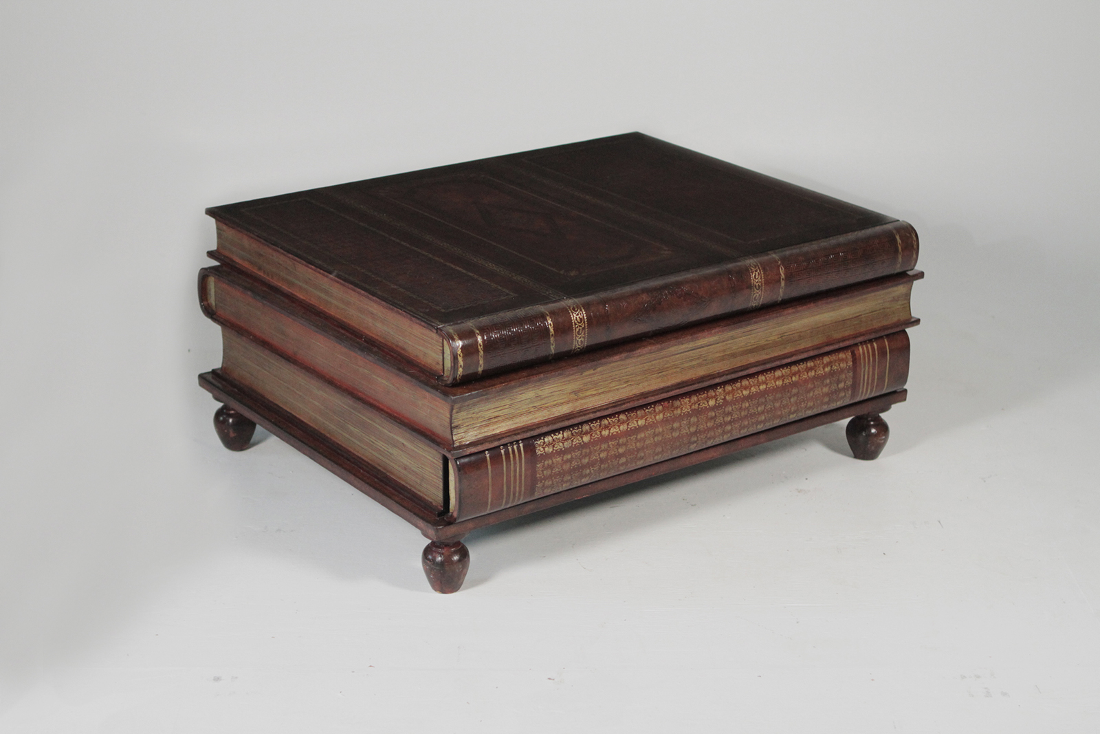 Maitland Smith Leather Stack Book Coffee Table Atop