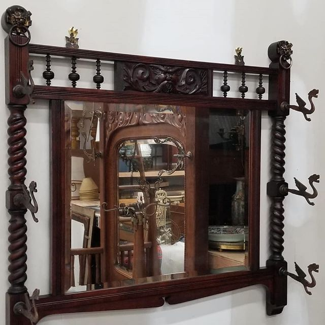 amazing carved mirror with brass dragon hooks, ca 1900  FIND YOUR TREASURE #atouchofthepastantiques #atop #lambertvillenj#antiquecapitalofnewjersey #hunterdoncounty#rivertown #antiques #antiquestore #forsale#midcentury #decoratorfinds #interiors #interiordesign#midcenturymodern #italiandesign #italianmidcentury#modernglass #moderndesign #studiofurniture#modernism #modernart #homedecor#homedecoration #decorators #interiors #design#instaliving #interiorinspiration #instadecor#luxurydecor #philadelphiadesign