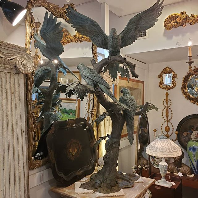 Monumental Bronze Parrot Sculpture  FIND YOUR TREASURE #atouchofthepastantiques #atop #lambertvillenj#antiquecapitalofnewjersey #hunterdoncounty#rivertown #antiques #antiquestore #forsale#midcentury #decoratorfinds #interiors #interiordesign#midcenturymodern #italiandesign #italianmidcentury#modernglass #moderndesign #studiofurniture#modernism #modernart #homedecor#homedecoration #decorators #interiors #design#instaliving #interiorinspiration #instadecor#luxurydecor #philadelphiadesign