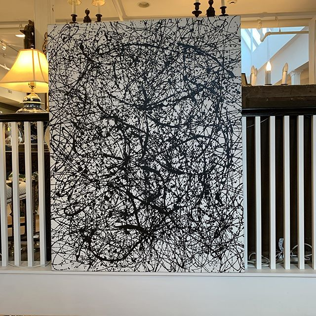 Large Pollock style painting in black and white FIND YOUR TREASURE#atouchofthepastantiques #atop #lambertvillenj#antiquecapitalofnewjersey #hunterdoncounty#rivertown #antiques #antiquestore #forsale#midcentury #decoratorfinds #interiors #interiordesign#midcenturymodern #italiandesign #italianmidcentury#modernglass #moderndesign #studiofurniture#modernism #modernart #homedecor#homedecoration #decorators #interiors #design#instaliving #interiorinspiration #instadecor#luxurydecor #philadelphiadesign