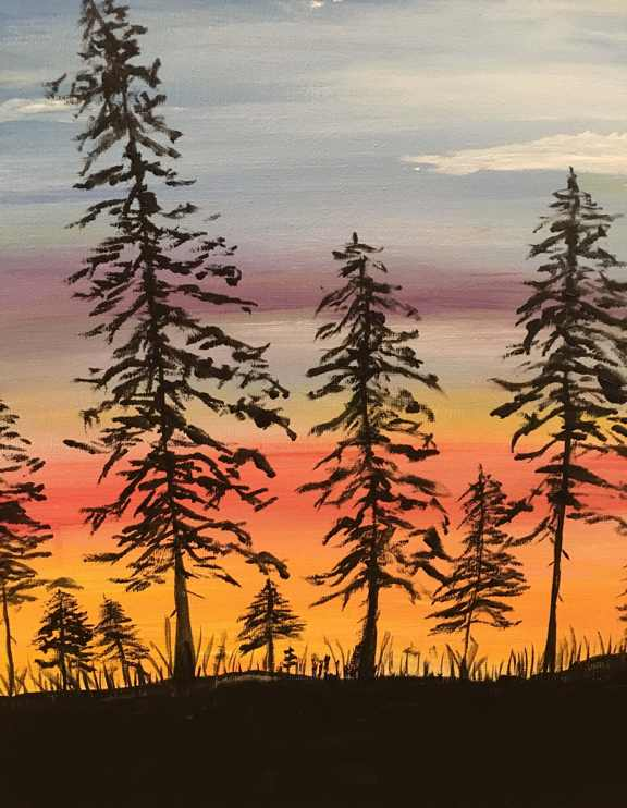 SUNSET IN THE PINES