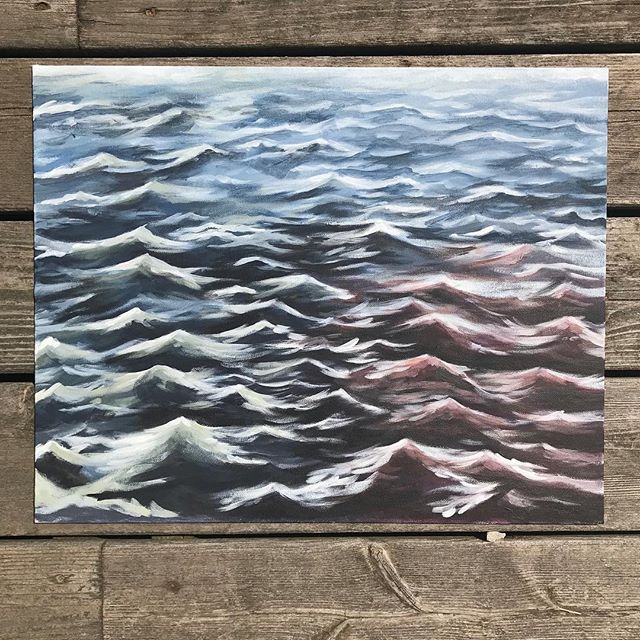 "After putting the baby down for the night yesterday, I got the urge to take out my acrylic paints that I haven't touched in years and do a study of some waves. . Landscapes are 100% not my thing, but it was relaxing channeling my inner Bob Ross and trying something different. 🌊 what have you done lately that has challenged you? . 16"" x 20"" acrylic on board"