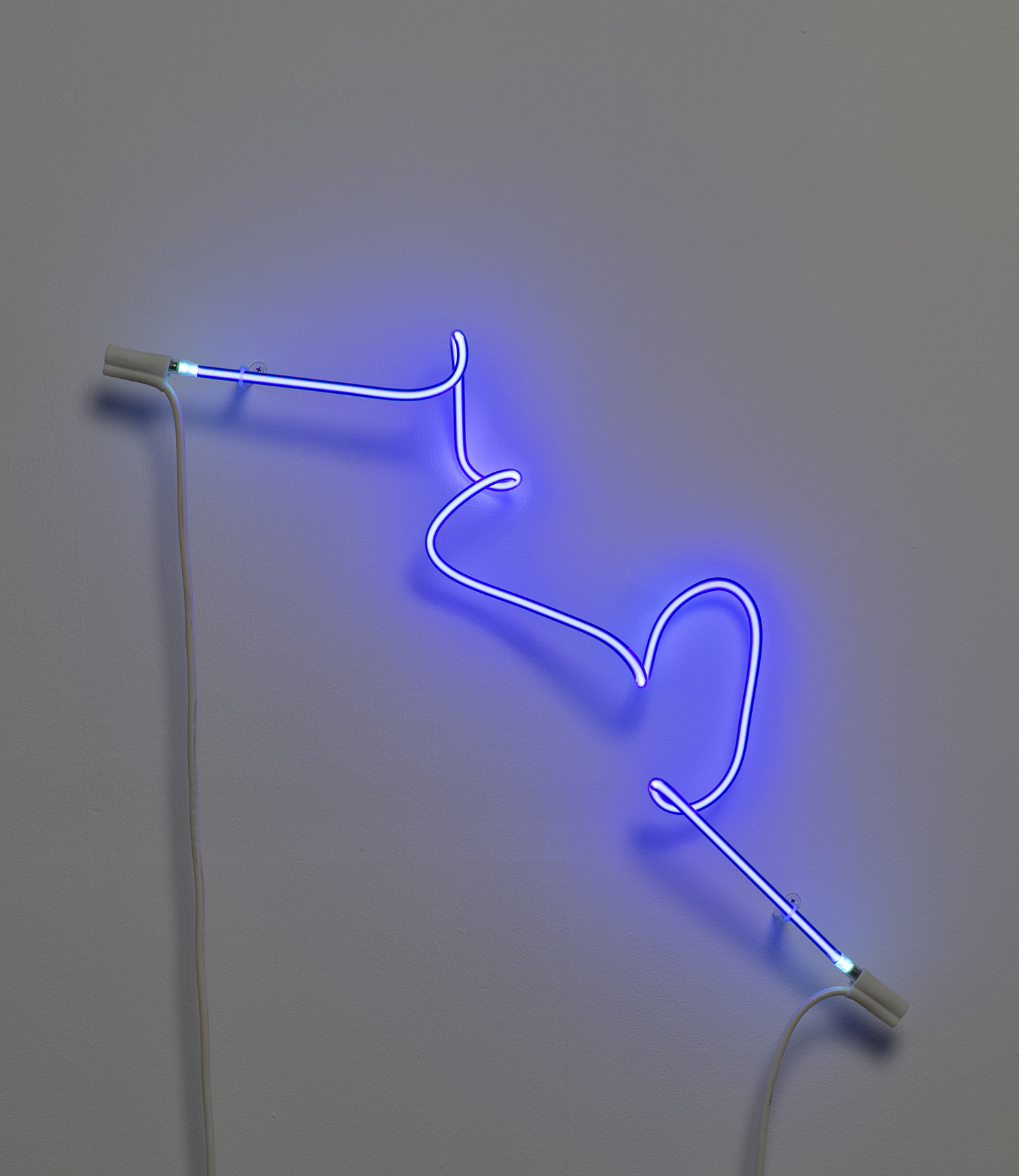 "JudyBlue, 2015 (phosphor coated glass, argon, wire), 35W"" x 5D"" x 8H"""
