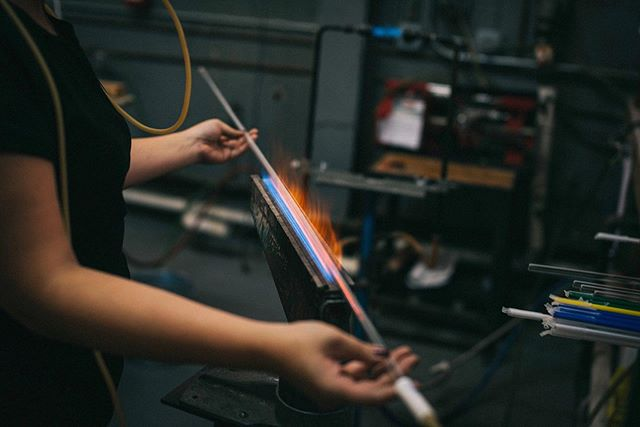 Just flame, glass and a blow hose. This is how all my neon work begins at the shop.  Here at my other home at @brooklynglass. Thanks to @alfiefriday for this shot. #neon #glass #art #brooklynglass #light #ribbonburner #tbt #throwbackthursday