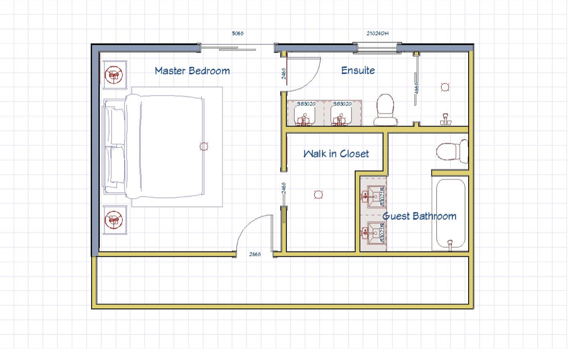 AFTER: Upstairs floor plan customized to the client's needs
