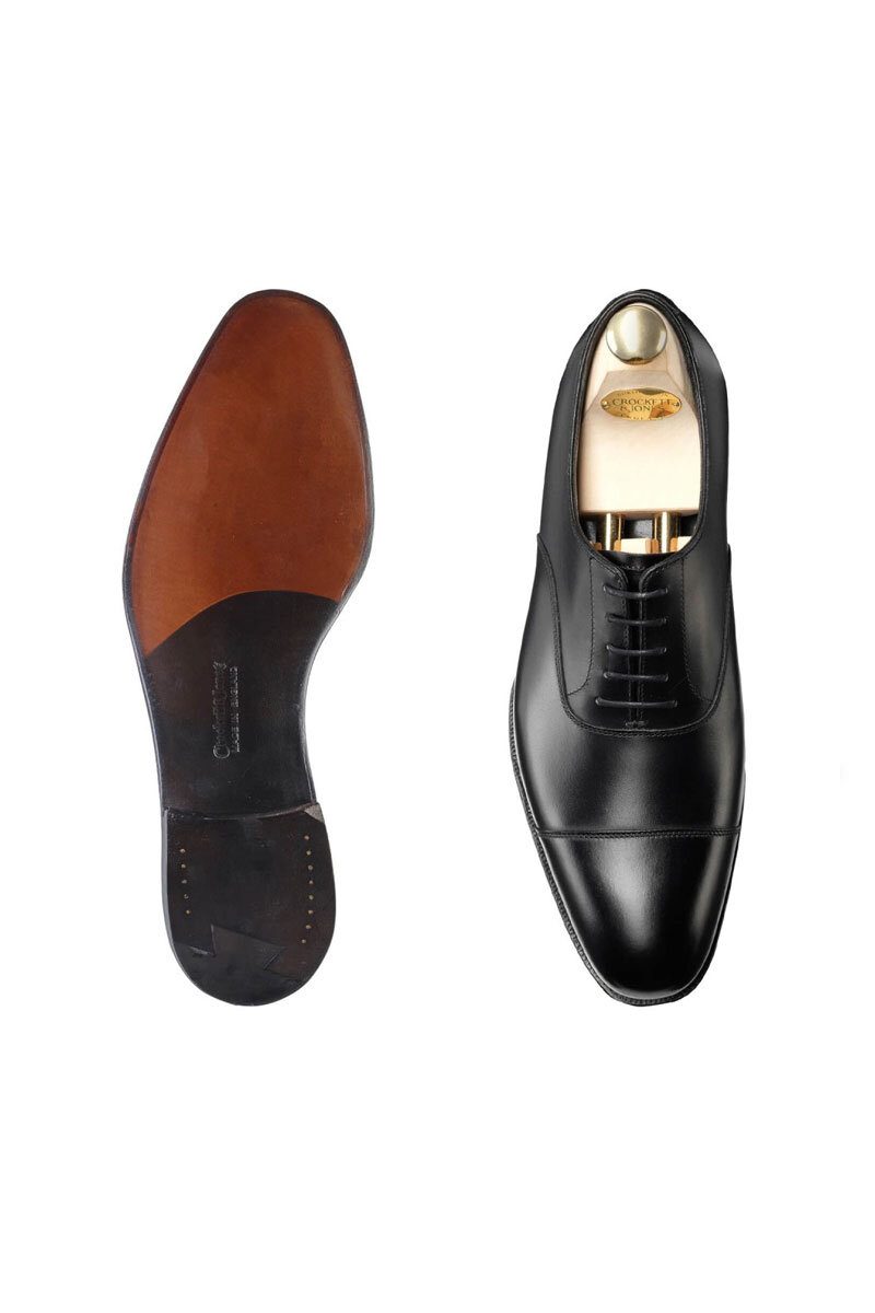 Shoes - Go for something clean and neat, and make sure the colour goes well with your suit (your tailor can help here). We offer beautiful custom made slippers for a truly custom look, get in touch to enquire. (Pictured shoes: Crockett and Jones)