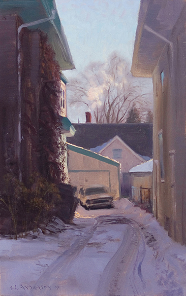 The Neighbor's Driveway , 14 x 22 oil on linen. During a recent cold snap, my painting buddy  Richard Abraham  noted all the steam rising out of buildings around town, as in this vignette. Framed by the houses, the sun was glorious as it highlighted the dissipating smoke and steam.