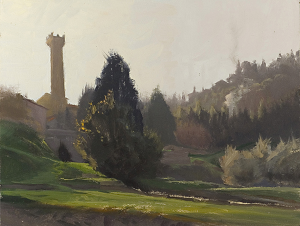 Vista di Fiesoli,  12 x 16 oil on panel