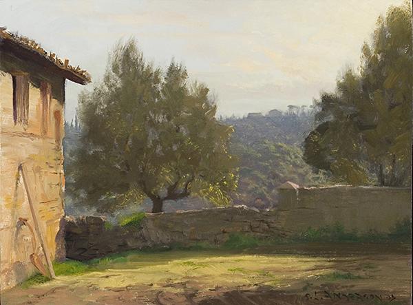 Tuscan Yard,  12 x 16 oil on panel