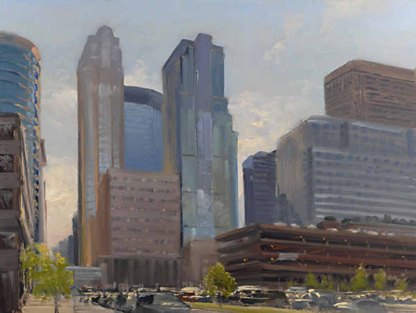 Downtown Minneapolis, from Marquette Avenue , 12 x 16 oil on panel