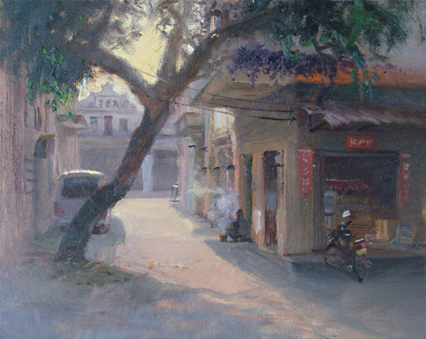 Che kan Street Scene (China) , 12 x 16 oil on panel Looking into the sunlight down this small street, I liked the slant of the tree against the right angles of the buildings. A man sat on a small stool and cooked for most of the morning, creating a nice, smoky-blue accent. Set up on the side of the street, I sucked a lot of fossil fuel emissions this session.