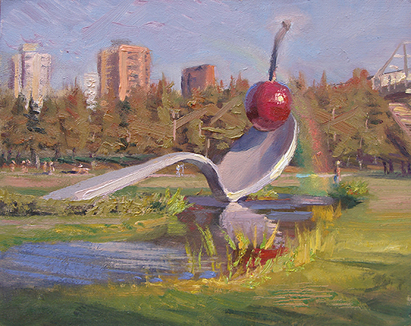 """Spoon Bridge and Cherry , 8 x 10 oil on panel We Minneapolitans love our Claes Oldenburg fountain at the Minneapolis Sculpture Garden at Walker Art Center. I suppose this painting is redundant — doing art about other art. Elvis Costello said, """"Writing about music is like dancing about architecture."""" Or was it Frank Zappa? Gertrude Stein?"""