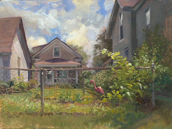 Pink Flamingo , 12 x 16 oil on panel This lot across the street from my house has two tiny houses on it that were built long ago with a tunnel connecting them. I wonder if kitschy lawn decor keeps rabbits out of the vegetable garden.