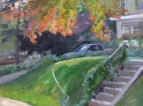 Arrangement with Leaves, Truck, and Hose , 12 x 16 oil on panel It's amazing how often a Thalo Green hose crawls into a scene to give me a much-needed opposing angle.