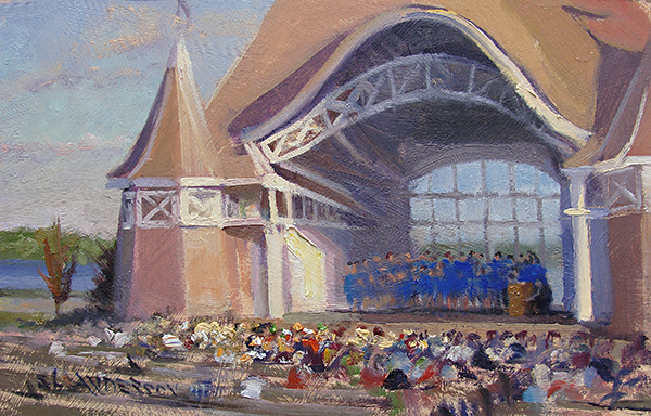 Choir Concert at the Bandshell , 7 x 11 oil on panel Painting at nearby Lake Harriet is like going to the office for me,but drawing the bandshell's architecture can feel like a trip through Alice's Wonderland.