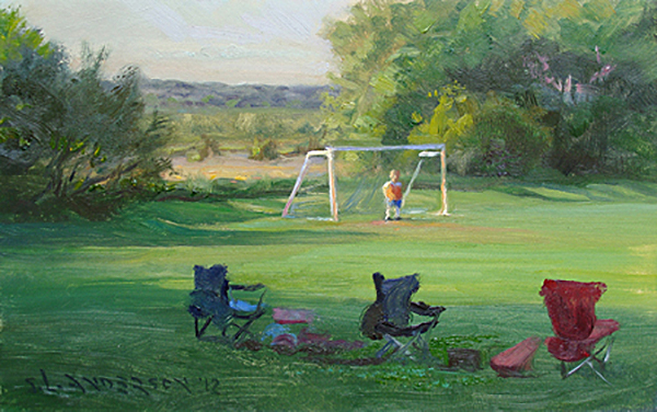 Lonely Job , 8 x 10 oil on panel How many of us recall getting assigned, voted, or otherwise ostracized to mind the nets in a soccer (or hockey) game? May as well search for four-leaf clovers and animal shapes in the clouds while you wait in terror of the ball coming your way.