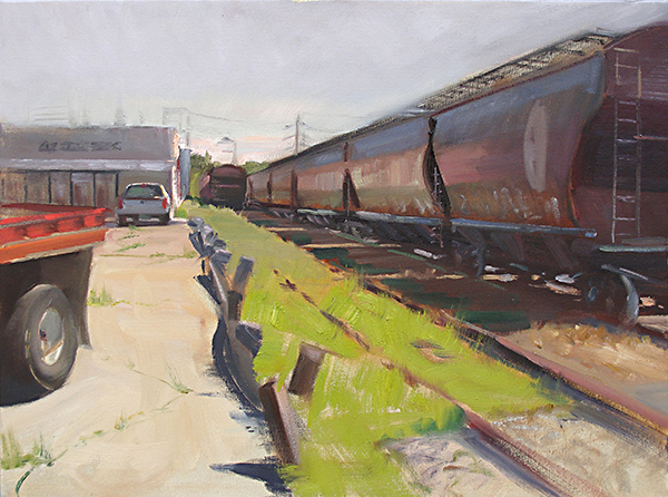 Railyard Perspective , 24 x 18 oil on canvas