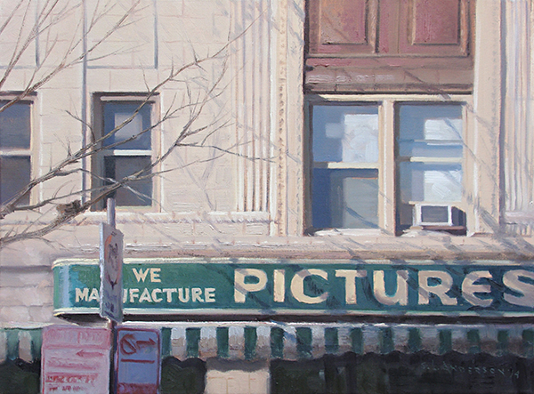 Shop on Sheridan , 18 x 24 oil on canvas Sheridan Road runs along Lake Michigan all the way from the city of Chicago to the Wisconsin border. The quaint Rogers Park neighborhood lies at the north end of the city and is home to Loyola University and some great architecture, including a few Frank Lloyd Wright designs. I love this old sign at what is now an antique shop.