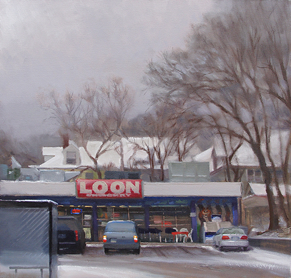 The Loon Grocery , 21 x 20 oil on panel This junk food and cig shop on Lyndale Avenue in Minneapolis used to be popular after bar closing. I like the name, though I'm not sure what the jungle motif mural has to do with the Minnesota state bird.