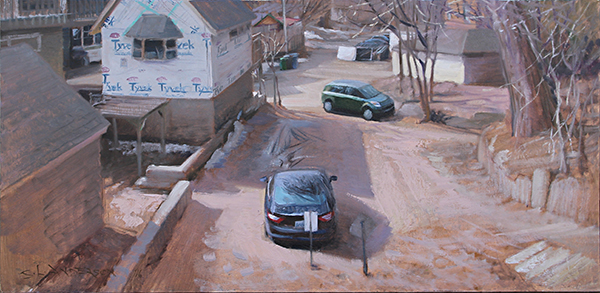 Tyvex Alley , 15 x 30 oil on panel