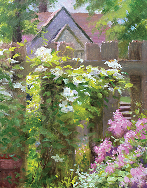 Clematis and Lilac , 10 x 8 oil on panel I'm not usually a flower painter, but how could I resist? Gazing at this glorious vine in my backyard is an antidote to all the urban and suburban paintings I've been doing.