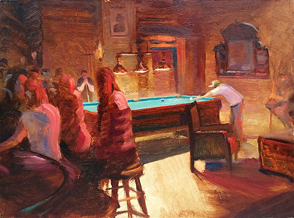 Last Ball , 12 x 16 oil on panel When I painted this, I stood right outside the window of the bar. A steady stream of nice patrons came out to watch, smoke, and chat.