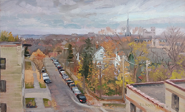 Fall in North Minneapolis , 12 x 20 oil on panel
