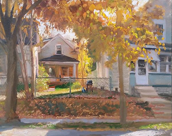 Autumn Glow Across the Street , 16 x 20 oil on panel