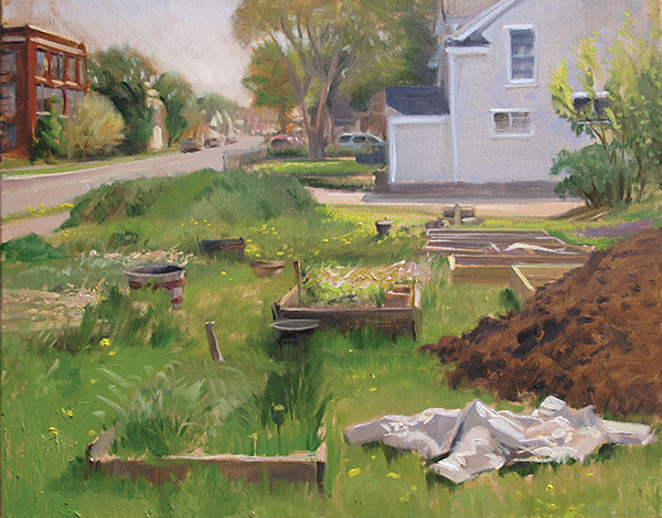 Spring Prep at the Community Garden , 16 x 20 oil on canvas