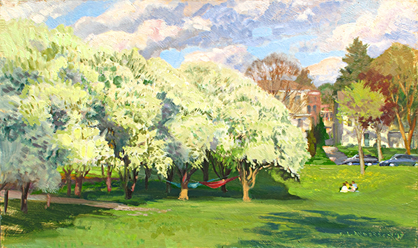 White Blossoms, Lake Harriet Garden , 12 x 20 oil on panel At the south end of the public rose garden is a clump of trees that explode with these lovely blossoms every spring.  Quel parfum raffiné! .