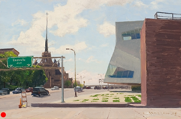 The Walker and the Church , 10.5 x 16 oil on panel SOLD