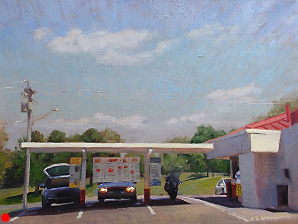 Drive-In , 18 x 24 oil on canvas This place is in Grantsburg, Wisconsin. Great root beer. SOLD