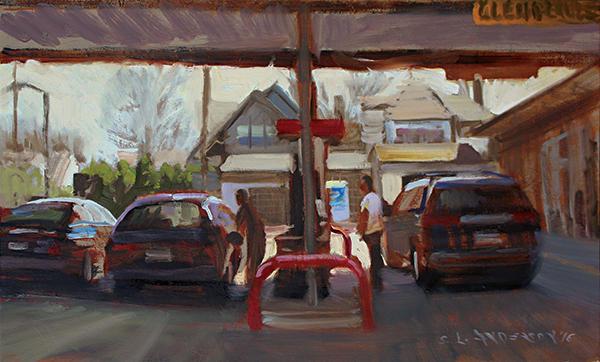 Gas Station , 12 x 20 oil on panel
