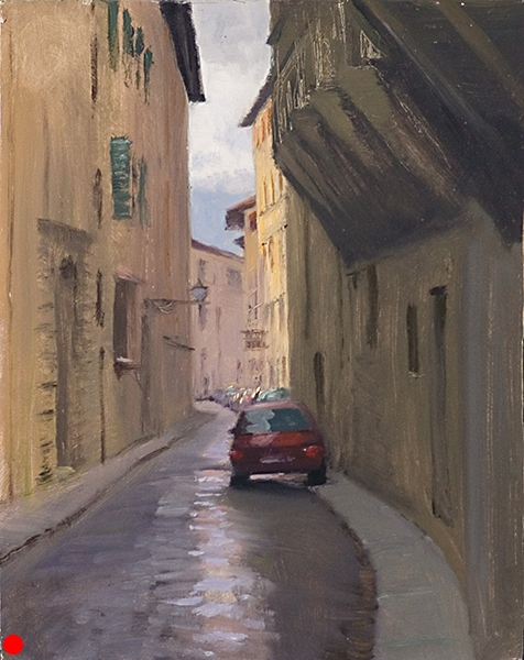 Via Dei Vagellai, Florence , 11 x 14 oil on panel If you're going to paint a contemporary landscape, you need to know how to draw a car. SOLD