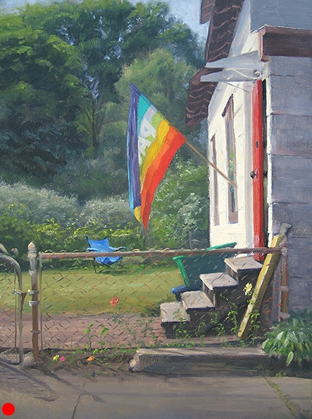 Pace (Peace) Flag , 12 x 16 oil on panel After painting grayed-down hues for much of the early spring, it was refreshing to stand before this chroma for a few hours. SOLD