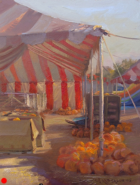 Pumpkin Tent , 12 x 16 oil on panel This pumpkin merchant had a small carnival setup with inflatable slides and pony rides for the kids. The red and white striped tent was catching the afternoon sun at a sharp angle and bounced it around in all directions. SOLD