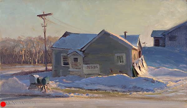 Jesus House , 12 x 20 oil on panel One of the owners of this house came out to see what I was doing. She said her husband created the signs to tell people in passing cars a thing or two, though she wasn't sure what the arrow was pointing toward. SOLD