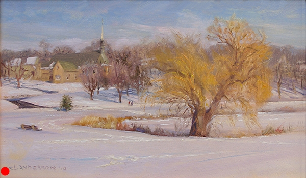 """Willow on Lake of the Isles , 12 x 20 oil on panel The """"chain of lakes"""" city parks around Minneapolis are a treasure. A century ago, visionary public servants set aside this land for the good of the people. Today, I suppose they'd be called socialists. SOLD"""