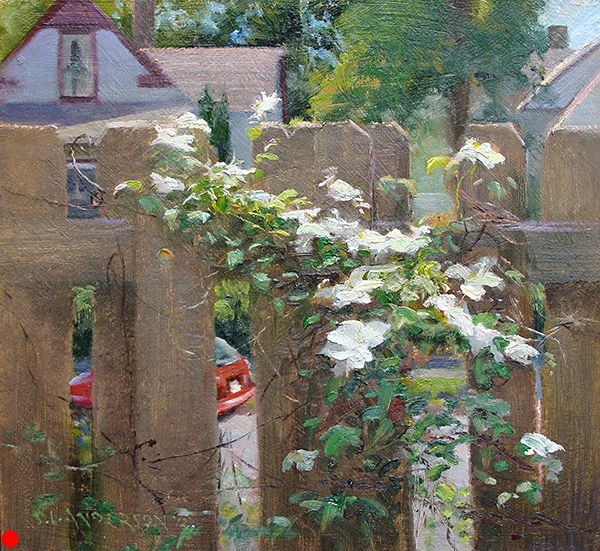 Clematis , 12 x 12 oil on panel This flowering vine blooms all too briefly every spring.