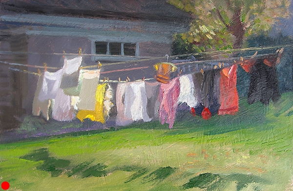 Clothesline , 11 x 7 oil on panel A breezy day provided this study of light, shape,angles, and chroma.