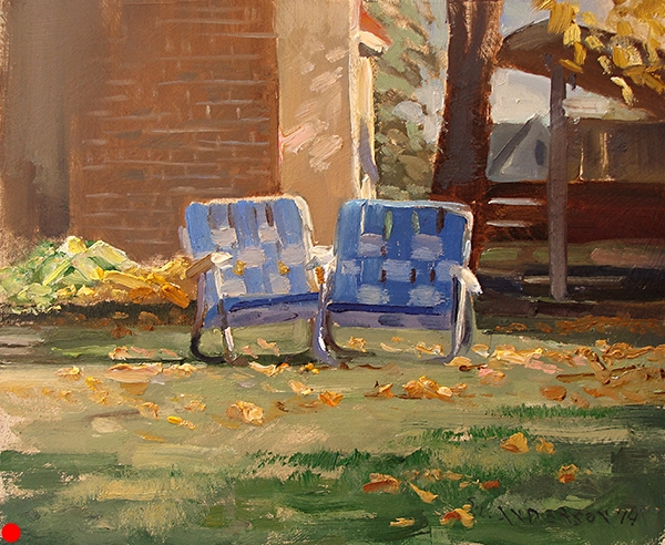 Two Chairs , 8 x 10 oil on panel Painted in my backyard in Minneapolis. An homage to empty-nesting. SOLD